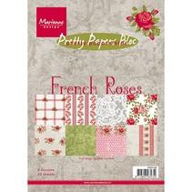 Papeles bonitas, A5, francés Roses, 32 hojas, 4 x 8 motivos