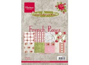 DESIGNER BLÖCKE  / DESIGNER PAPER Papeles bonitas, A5, francés Roses, 32 hojas, 4 x 8 motivos