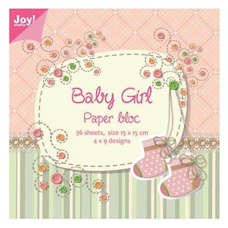 Joy!Crafts und JM Creation Bloque de papel, 15x15cm, Baby Girl