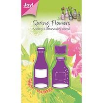 Joy Crafts, Flaschen und Etikette, 31x55/27x71/21x18mm