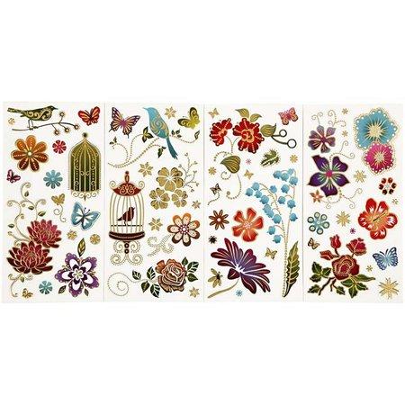 Sticker Adhesivo de papel bonito, hoja de 10,4x29 cm, una especie de efecto de oro, Primavera, 4. Hoja
