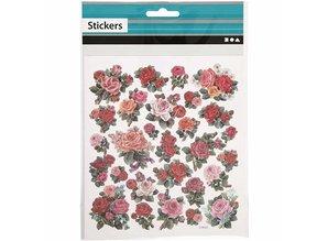 Sticker Folie mærkat ark 15x16, 5 cm, roser, 1 ark