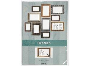 KARTEN und Zubehör / Cards Frame, sheet 26,2 x18, 5 cm, metallic colors, 16 sort. Sheet