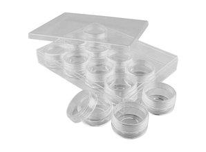 BASTELZUBEHÖR / CRAFT ACCESSORIES Acrylic Jars with screw cap, set of 12 cans