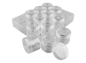 BASTELZUBEHÖR / CRAFT ACCESSORIES Acrylic Jars with screw cap - packed in a transparent plastic box. Set of 12 cans