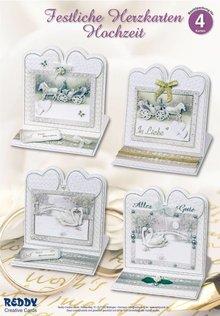 BASTELSETS / CRAFT KITS: Materiale sæt til 4 ædle bryllup kort