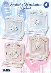 BASTELSETS / CRAFT KITS: Materiale sæt til 4 Festive Heart Cards Fødsel
