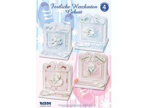 BASTELSETS / CRAFT KITS: Material set for 4 Festive Heart Cards Birth