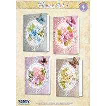 Materiaal set voor 4 kaarten Flower Art I