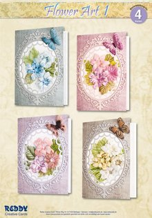 BASTELSETS / CRAFT KITS: Materiale sæt til 4 kort Flower Art I