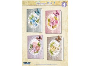 BASTELSETS / CRAFT KITS: Material set for 4 cards Flower Art I