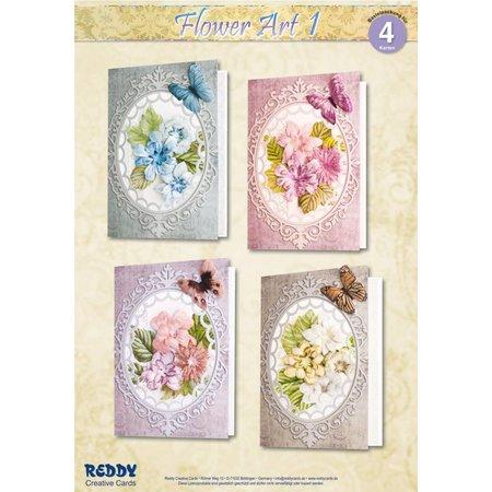 BASTELSETS / CRAFT KITS: Materiale sæt til 4 kort Flower Art I