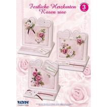 Material fijado para 4 tarjetas festivas corazón rosa rosas