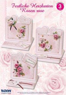 BASTELSETS / CRAFT KITS: Materiale sæt for 4 Festive hjerte kort rosa roser