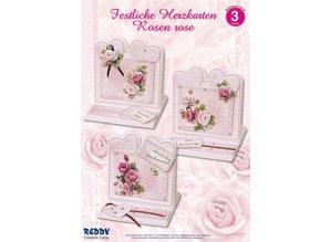 BASTELSETS / CRAFT KITS: Material set for 4 Festive heart cards rose roses