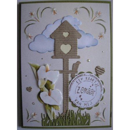 Joy!Crafts und JM Creation Joy Crafts, skæring og prægning stencil Birdhouse