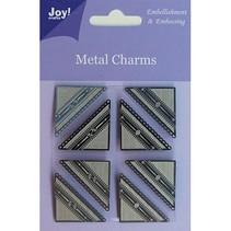 Alegría manualidades, metal de los encantos de esquina, 8 piezas
