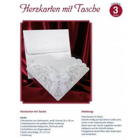 BASTELSETS / CRAFT KITS: Materialset für 3 Herzkarte mit Tasche