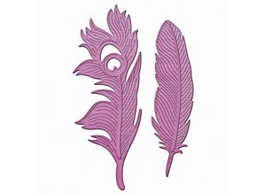 Spellbinders und Rayher Metal template In'spire, Feathers on the Wind, 2.1 x 7.2 to 3.1 x 8.5 cm, 2 pieces