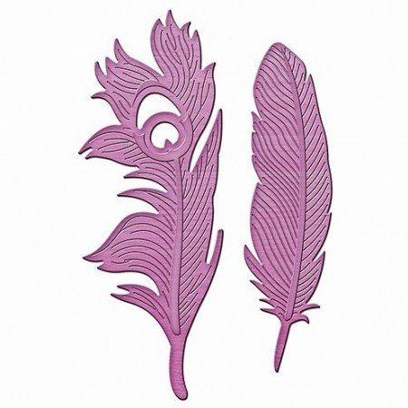 Spellbinders und Rayher Plantilla de metal In'spire, plumas en el viento, 2.1 x 7.2 a 3.1 x 8.5 cm, 2 piezas