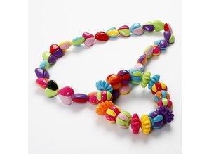 Kinder Bastelsets / Kids Craft Kits To-delt akryl perler hjerter, i 9 flotte farver, H: 16 mm, hulstr 2 mm