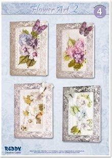 BASTELSETS / CRAFT KITS: Craft Kit til 4 ædle blomst cards