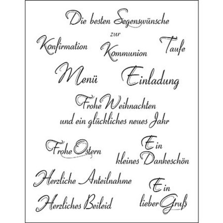 Viva Dekor und My paperworld I timbri trasparenti, testo in tedesco, 14x18cm