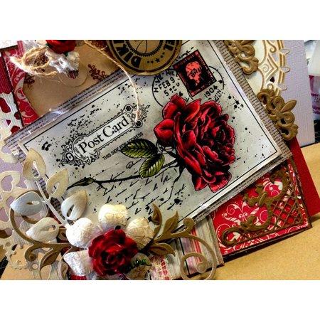 Joy!Crafts und JM Creation Transparent Stempel, Old Rose auf ein Postcard