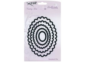 Docrafts / Papermania / Urban Nesting Dies - Scalloped Oval (5pcs) Large