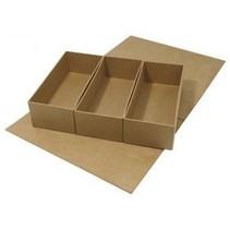 Papmaché, hængslet-låg kasse, 29,5 x22x6, 5 cm, 3 indvendige dele løs