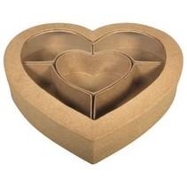 Pappm. Sortierbox Herz FSC Recycled 100%, 27x26x5cm, m.Sichtfenster,m.5 Fächer