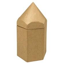 Objekten zum Dekorieren / objects for decorating Papmache sekskant containere, blyant, 9x8x16 cm