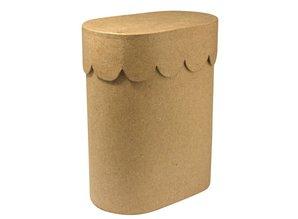 Objekten zum Dekorieren / objects for decorating Contenedor de papel maché, Vieira, 8x13x16 cm, oval, con tapa