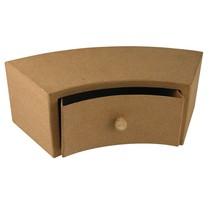 Papier mache ladeblok, 30x12x10 cm, half ronde 1 lade