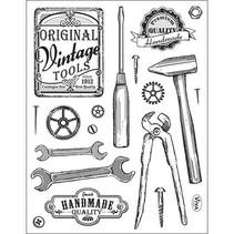Gennemsigtige frimærker, vintage værktøjer