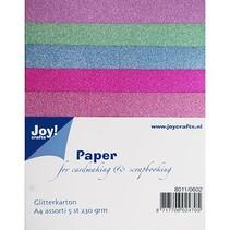 5 Glitter karton in 5 verschillende kleuren