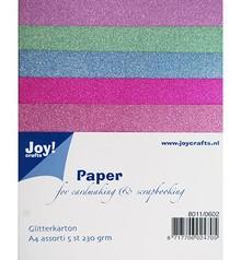 DESIGNER BLÖCKE  / DESIGNER PAPER 5 Glitter cartón en 5 colores diferentes