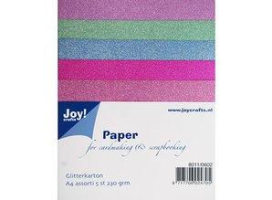 DESIGNER BLÖCKE  / DESIGNER PAPER 5 Glitter karton i 5 forskellige farver