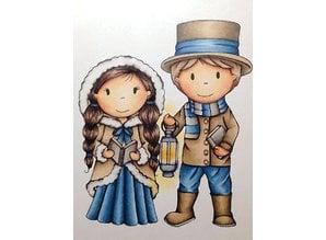 STEMPEL / STAMP: GUMMI / RUBBER Rubber stamp 9.5 cm, couples Nostalgia