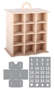 Objekten zum Dekorieren / objects for decorating 3D Cabinet Advent Calendar + 2 Stencils