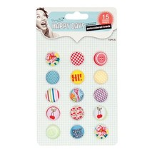 Embellishments / Verzierungen Broderet Brads, Happy Days