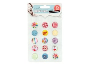 Embellishments / Verzierungen Brads bordados, Happy Days