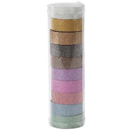 DEKOBAND / RIBBONS / RUBANS ... Selbstklebendes Klebeband mit Glitzeroberfläche in 10 versch. Farben zu je 6 m