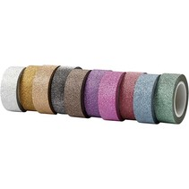 Self-adhesive tape with glitter surface