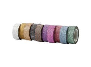 DEKOBAND / RIBBONS / RUBANS ... Selvklæbende tape med glitter overflade i 10 forskellige. Dragter af 6 m