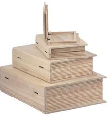 Objekten zum Dekorieren / objects for decorating Scatola di legno in forma di libro in 4 diverse misure