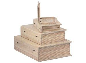 Objekten zum Dekorieren / objects for decorating caja de madera en forma de libro en 4 tamaños diferentes