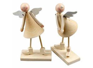 Objekten zum Dekorieren / objects for decorating Sæt med 2 Angel 15 cm klokkeformede, stående engle lavet af træ