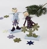 Objekten zum Dekorieren / objects for decorating Set von 2 Engel 15 cm glockenförmige, stehende Engel aus Holz