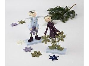 Objekten zum Dekorieren / objects for decorating Set of 2 Angel 15 cm bell-shaped, standing angels made of wood